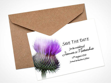 Scottish Thistle Wedding Save The Date Card / Magnet