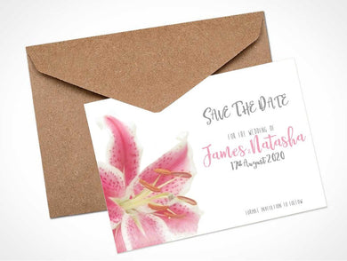 Pink Stargazer Lily Wedding Save The Date Card / Magnet