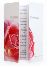 Pink Rose Wedding Invitation On Gatefold Card