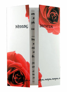 Double Red Rose Wedding Invitation On Gatefold Card