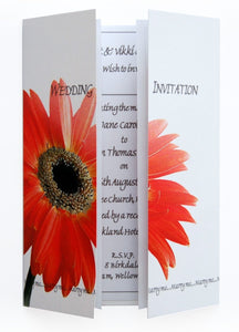 Orange Gerbera Wedding Invitation On Gatefold Card