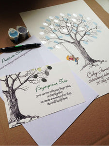 Personalised Christening Fingerprint Tree - Little Boy on Swing/ Birthday/ Naming Day