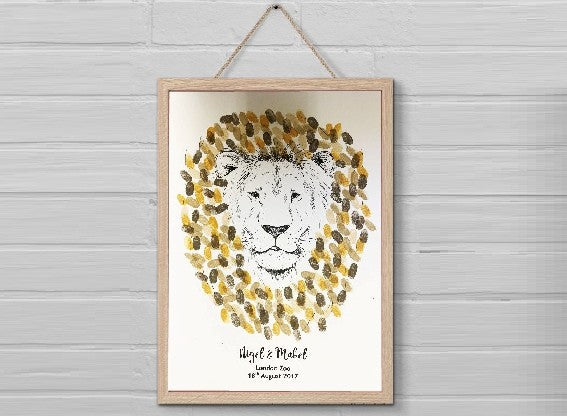 PERSONALISED Lions Head Fingerprint Guest Book Keepsake - UNIQUE GIFT!!
