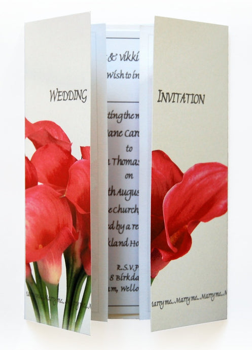 Pink Calla Lily Bouquet Wedding Invitations
