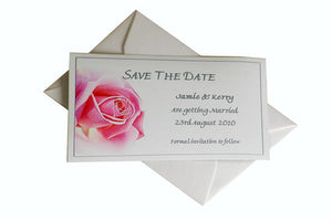 Pink Open Rose Wedding Invitations