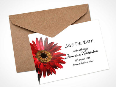 Red Gerbera Wedding Save the Date