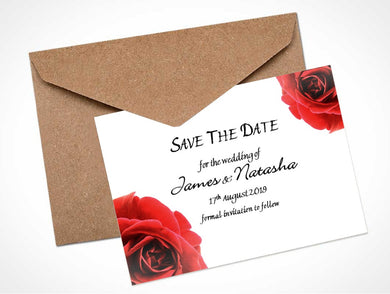 Red Open Rose Wedding Save the Date