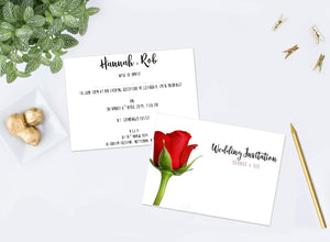 Red Rose 2 Wedding Invitations