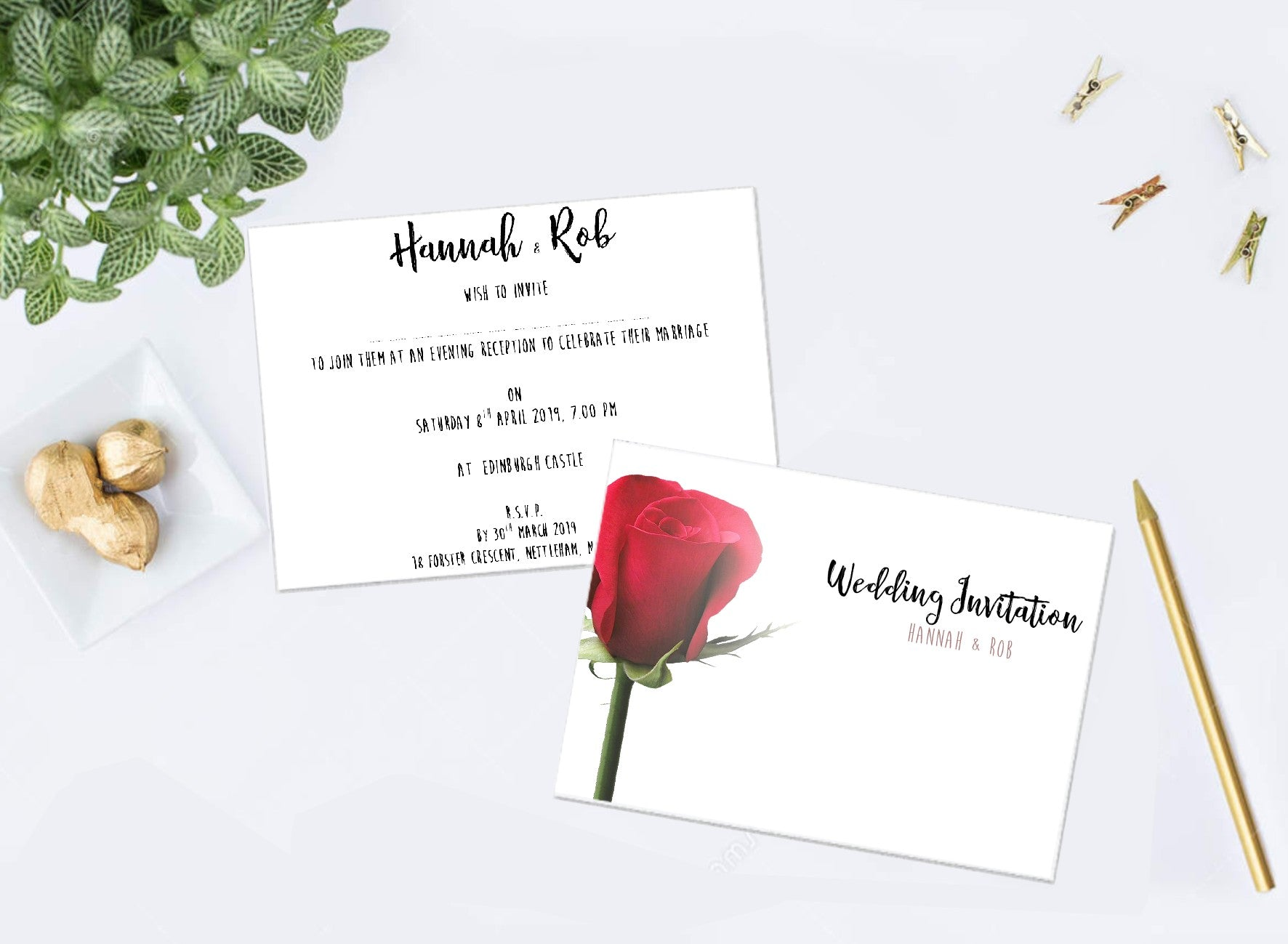 Red Rose Wedding Invitations – Creative Cacti Designs