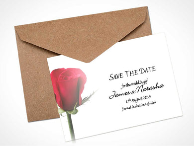 Red Rose Bud 1 Wedding Save the Date