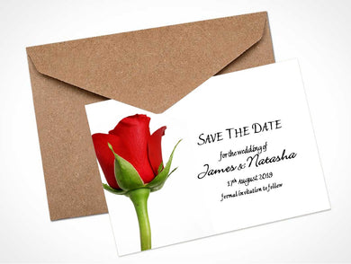 Red Rose Bud 2 Wedding Save the Date