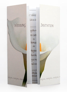 Single White Calla Lily Wedding Invitations