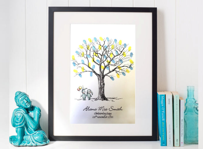 Christening Fingerprint Tree- Twins