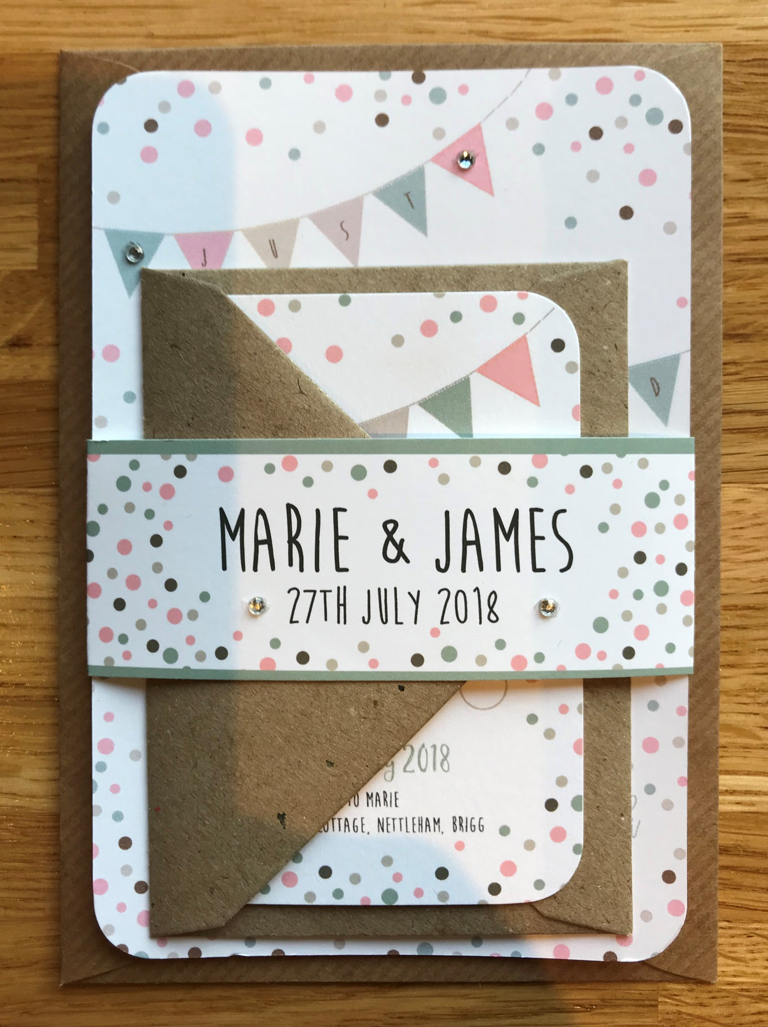 Vintage Bunting & Dots Wedding Invitations – Creative Cacti Designs