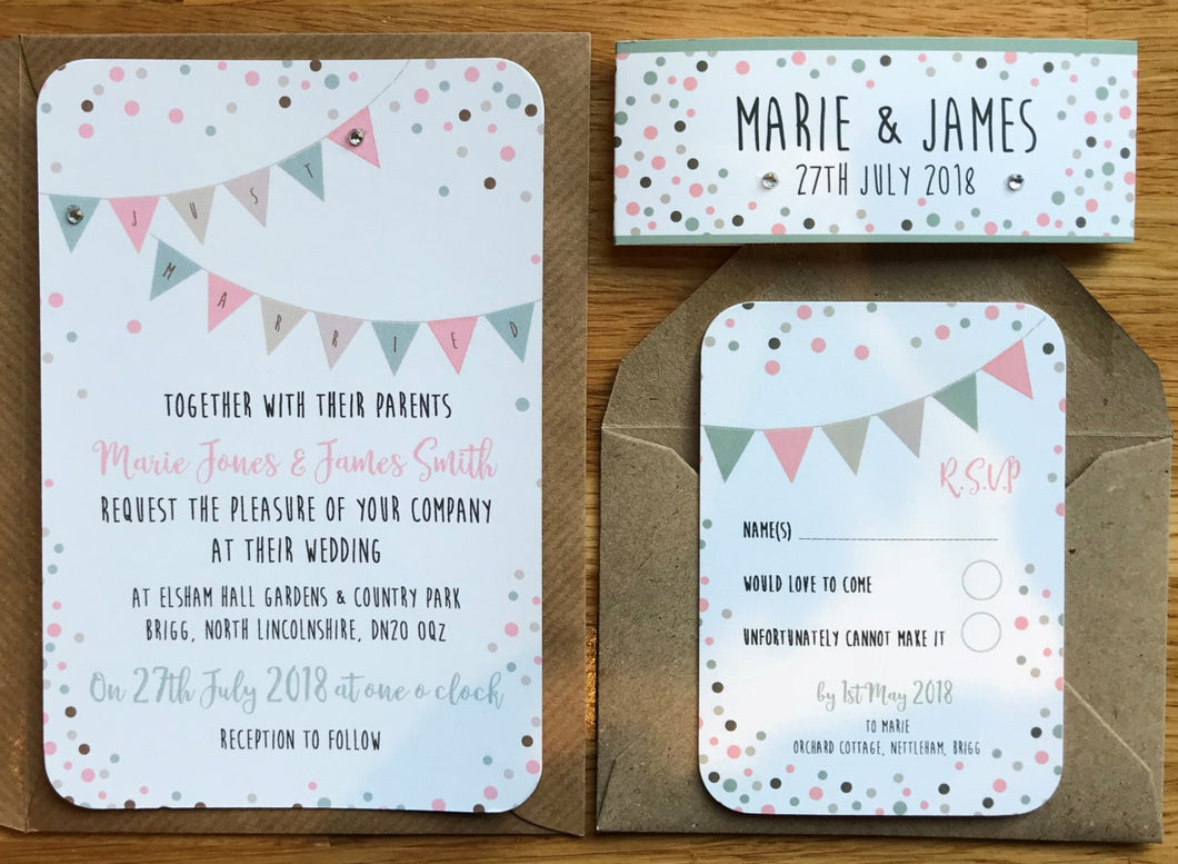 Vintage Bunting & Dots Wedding Invitations