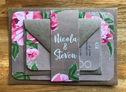 Vintage Kraft & Pink Peonie Wedding Invitations