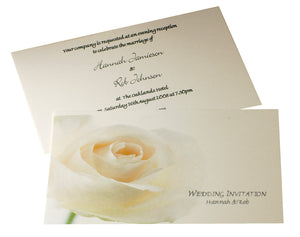 White/ Ivory Open Rose Wedding Invitations