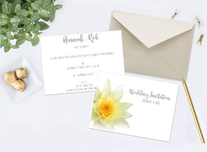 Gold Waterlily Wedding Invitations