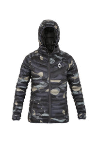 Camouflage Bubble Jacket with Hood and Double Layered Bottom Hem
