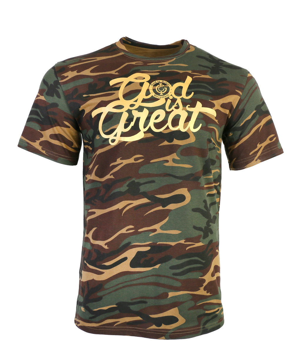 Camouflage Half Sleeves T-shirt With Crew Neck
