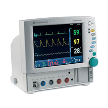 GE Datex Ohmeda Cardiocap 5 Anesthesia Monitor includes integrated airway gases O2, N2O, and CO2.