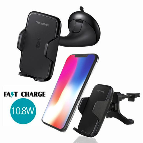10.8W Car Mount Dashboard/ Mirror/ Air Vent Wireless  Charger For (iPhone X/8/8Plus)