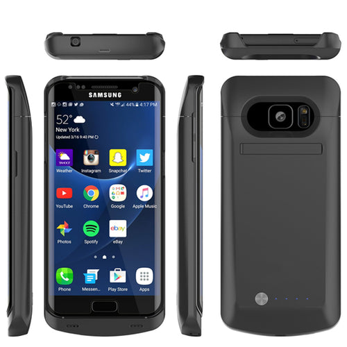 Samsung S7 Edge Smart Power Charger/ Battery Cover Case (5200 mAh) with Integrated Kickstand