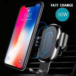 Car Mount Qi Wireless Fast Charger For iPhone (X,8,8Plus)