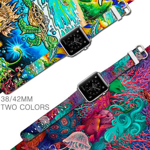 Multi Color Leather Bracelet Wrist/Watch Band for Apple Watch Series 4,3,2,1 (44mm,42mm,40mm,38mm)