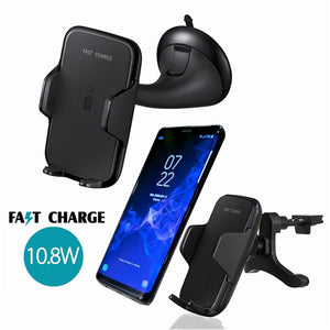 10.8W Car Mount Dashboard/ Mirror/ Air Vent Wireless  Charger For Samsung S8/S8Plus, Galaxy S7 / S7 Edge