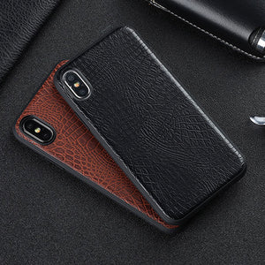 Vintage Luxury Crocodile Leather Business Style Anti-Knock For Apple iPhone X