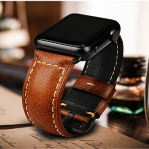 BUY ONE GET ONE FREE - Casual Genuine Leather Wrist/Watch Band for Apple Watch Series 4,3,2,1 (44mm,42mm,40mm,38mm)