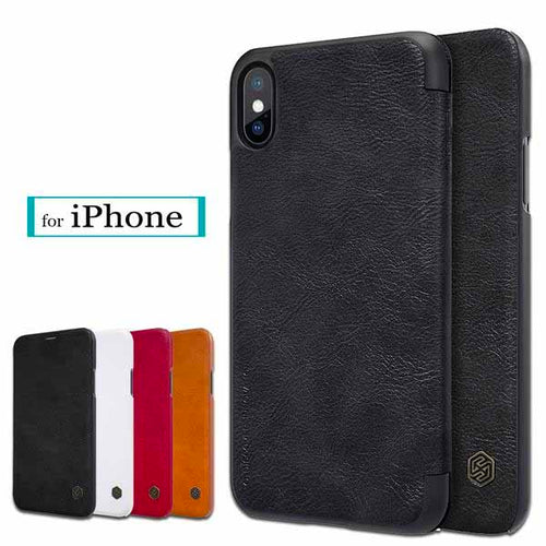 iPhone X Vintage Luxury Flip Leather Cover