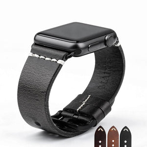 Pin Buckle Genuine Leather Business Wrist/Watch Band for Apple Watch Series 4,3,2,1 (44mm,42mm,40mm,38mm)
