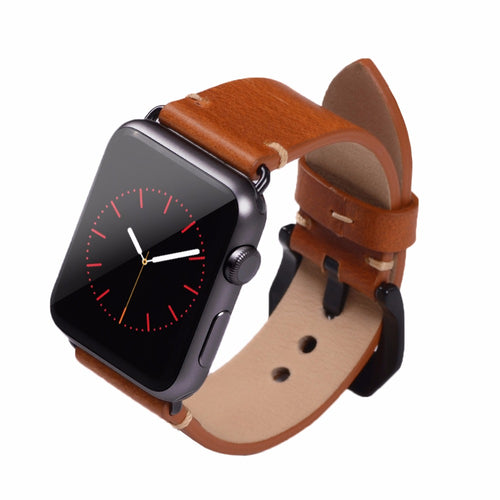 Classic Tanned Leather Wrist/Watch Band for Apple Watch Series 4,3,2,1 (44mm,42mm,40mm,38mm)