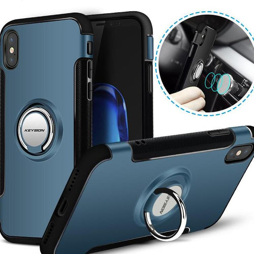 iPhone X Car Holder Stand Magnetic Bracket Case Finger Ring TPU + PC Back Cover