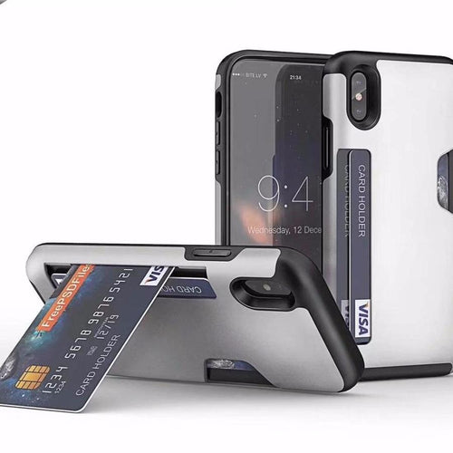 Hybrid Armor Hard Back Case Cover With Card Slot Holder for iPhone X