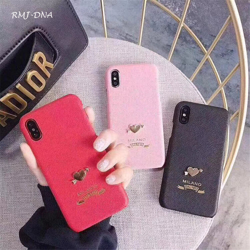 Luxury Leather 3D Love iPhone X Cover