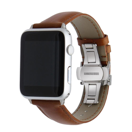 Butterfly Buckle Genuine Leather Wrist/Watch Band for Apple Watch Series 4,3,2,1 (44mm,42mm,40mm,38mm)