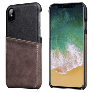 Genuine Leather Card Slot Slim Shockproof Protective Case For Apple iPhone X
