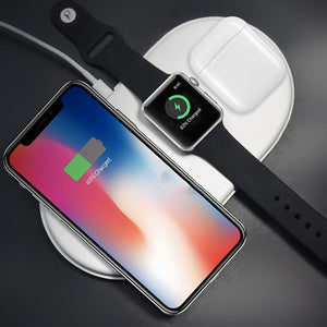 QI Wireless Charger Fast Charging Pad Quick Charge 2.0 for Apple Watch AirPods IPHONEX/8,8+/SAMSUNG NOTE 8/S9/S9-PLUS/S8/S8-PLUS/S7/S6-EDGE