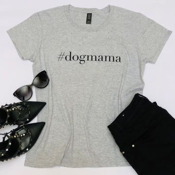 T-Shirt | #dogmama | Grey and Black
