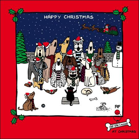 CHRISTMAS GREETING CARD | off the leash | Happy Christmas