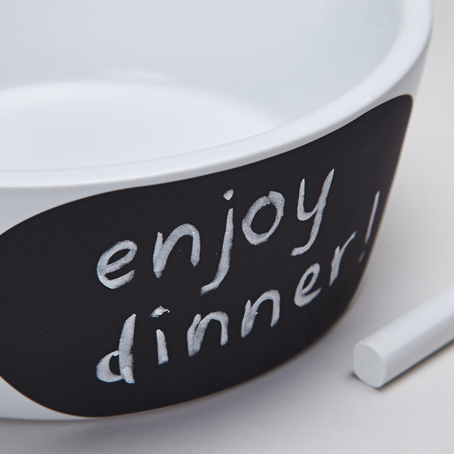 DOG BOWL | White with Black Chalkboard Window | CLOUD 7