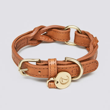 COLLAR | Luxury Braided Leather in Cognac | CLOUD 7