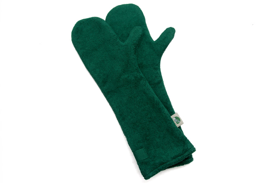 DRYING MITTS | Cotton Towelling in Bottle Green | RUFF & TUMBLE