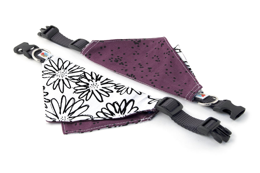 REVERSIBLE BANDANA COLLAR | Daisies/White