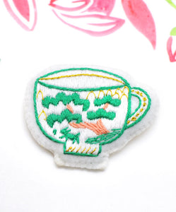 Cup-chan Brooch & Hair Tie - Japanese Garden