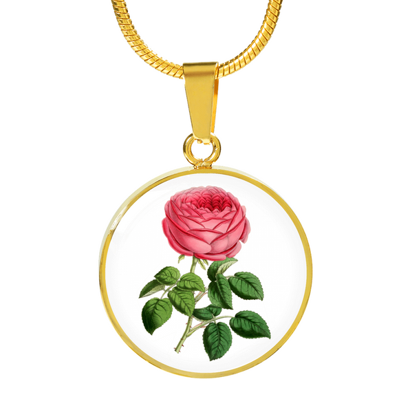 Gemini: Rose Single Dark Pink, Necklace