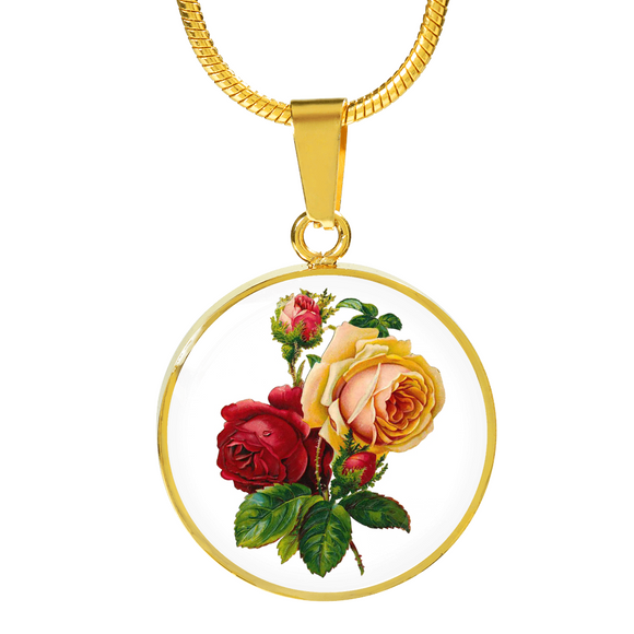 Gemini: Rose Red and Yellow, Necklace
